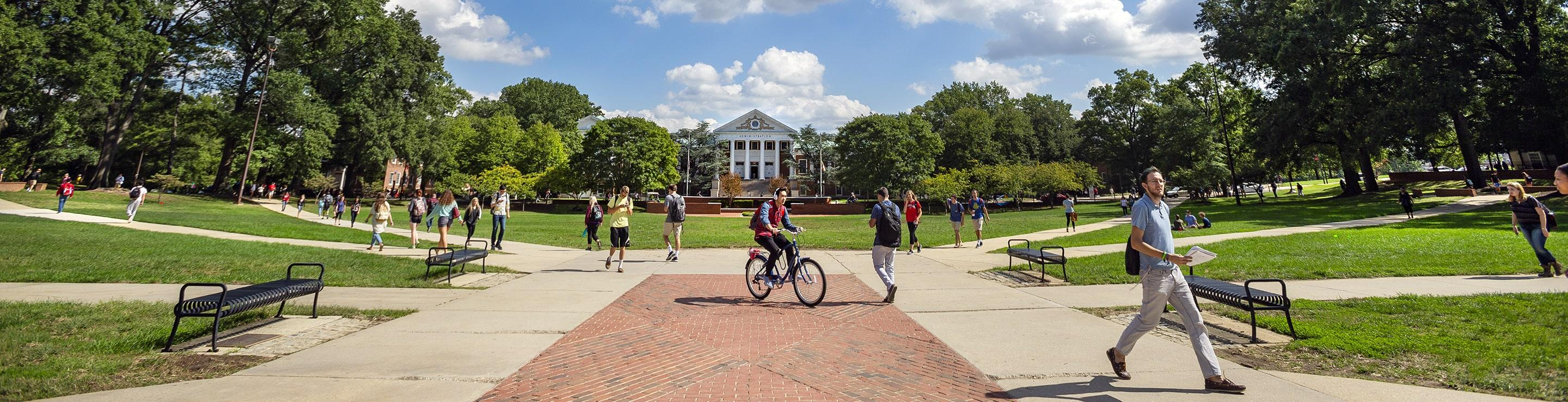 Students walk to class on McKeldin Mall on the University of Maryland campus